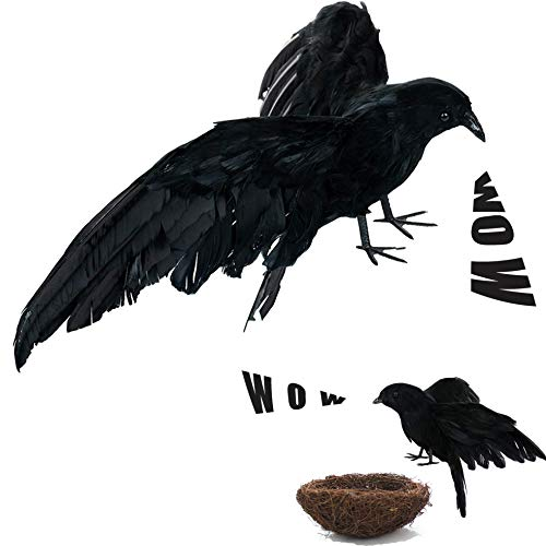 Fake Black Birds Halloween (Crows Halloween Decorations, Realistic Lifesize Crow Flared Wings and Wild Grass Nest for Halloween Outdoors and Indoors Decorations Black Feathered)