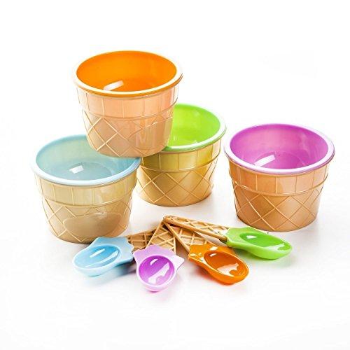 8 tlg Eis-Schalen Set inkl. passender Eis-Löffel in 4 tolle Farben mit Waffel-Muster. Diese Eis-Becher sind ein aboluter Blickfang.