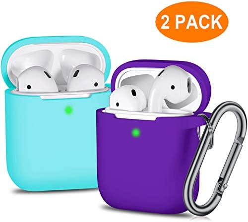 Airpods Case Cover With Keychain 2 Pack Soft Full Protective
