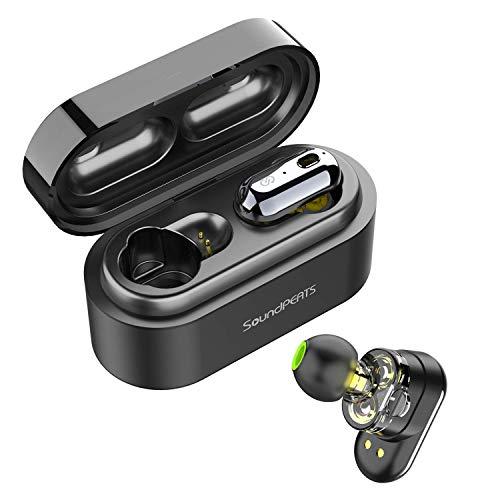 SoundPEATS Wireless Earbuds, Bluetooth 5.0 Wireless Headphones Dual Dynamic Drivers TWS Bluetooth Earphones Built in Mic IPX6 Sweatproof Headphones True Wireless Earbuds with Portable Charging Case