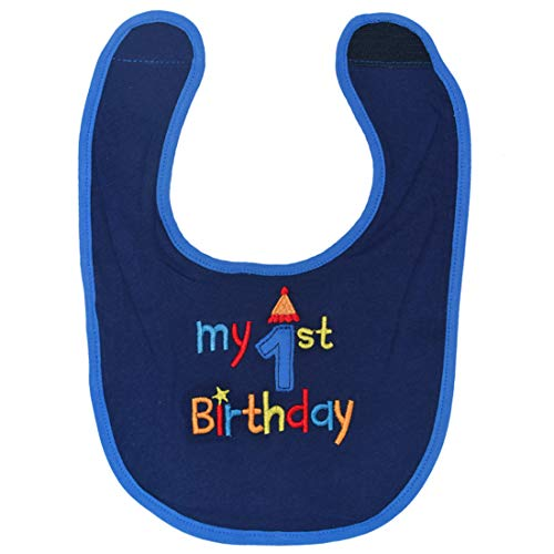 Maticr First Birthday Bibs Boy Cake Smash Bib 1st Birthday Outfit Accessory Party Supplies (Navy