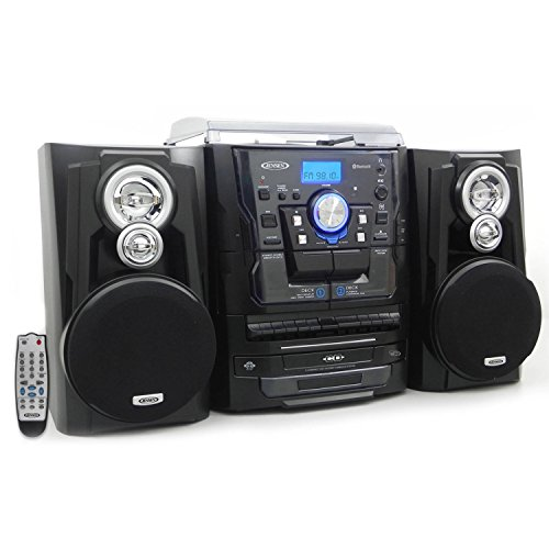 Jensen JMC1250 Bluetooth 3-Speed Stereo Turntable and 3 CD Changer with Dual Cassette (Best Stereo Turntable Cassette Cds)