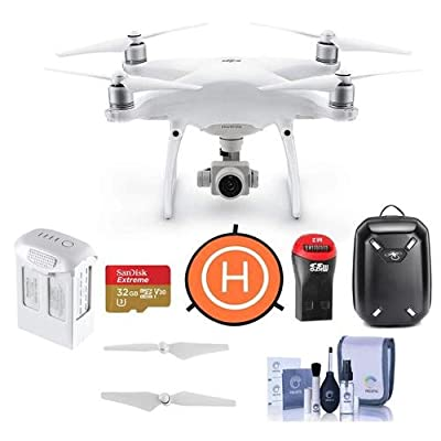 DJI Phantom 4 Advanced+ Quadcopter Drone with 5.5in FHD Screen Remote Controller - Bundle With 32GB MicroSDHC Card, DJI Hardshell Backpack, DJI Intelligent Battery, Propellers, Drone LandingPad, More