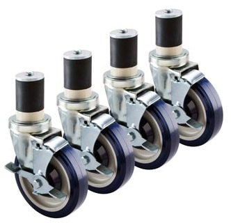 Krowne Economy Series 1-1/2 Stem Worktable Caster, 5'' Wheel, (Set Of 4) 30-125S