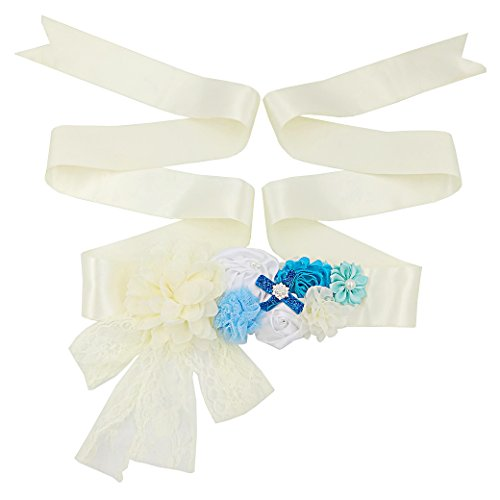 (Lujuny Lace Floral Maternity Sash Belt - Satin Ribbon Waist Band for Wedding Baby Shower (BLUE BEIGE))