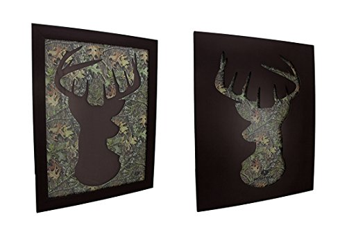 Zeckos Wood & Glass Of Mossy Oak Camo Deer Head Silhouette