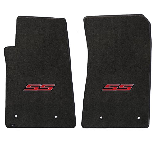 Fits 2010-2014 Chevy Camaro 2pc Ebony Black Floor Mats Set with SS Logo in ()
