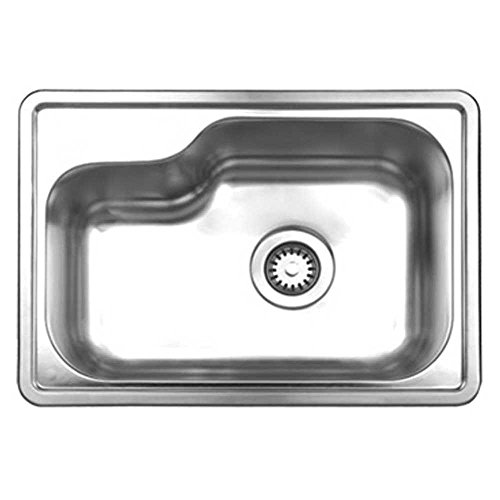Whitehaus WHND1913-BSS Noah's Collection 22-1/2-Inch Single Bowl Drop-Ink Sink, Brushed Stainless Steel