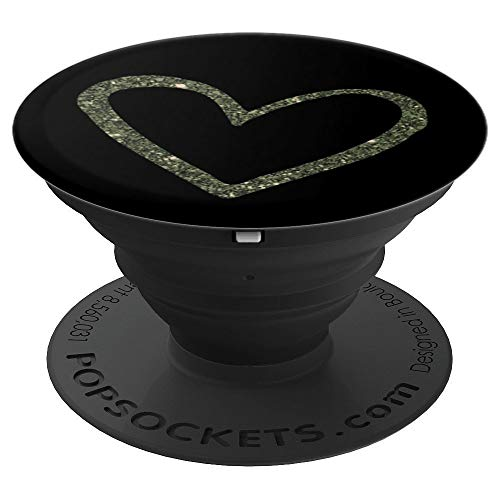 Olive Green Heart, Sparkle, Confetti, For Her, For Girls - PopSockets Grip and Stand for Phones and Tablets