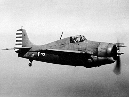 (Home Comforts Laminated Poster A U.S. Navy Grumman F4F-3 Wildcat Fighter in Flight, in February 1942.)