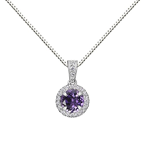 Hdiamonds Sterling Silver 6mm Round Gemstone and Created White Sapphire Halo Pendant Necklace, 18