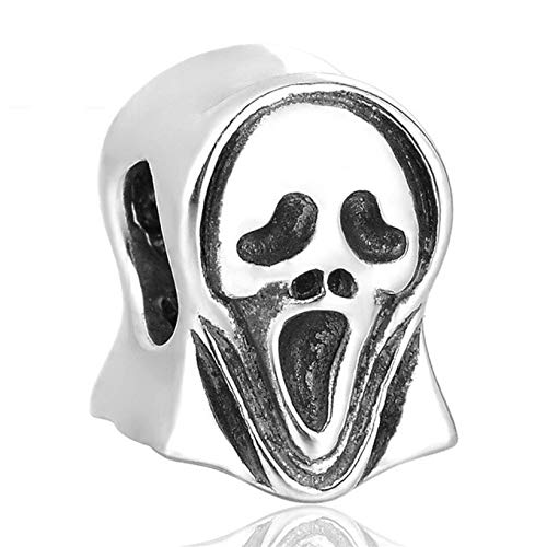 EVESCITY Limited Edition Multi Styles #2 925 Sterling Silver Bead for Charms Bracelets ♥ Best Jewelry Gifts for Her ♥ (Scream Mask Halloween Scary Movie Skull)