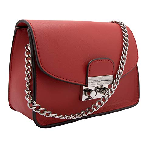BCBGeneration Milly Small Red Crossbody Handbag for Women - Evening Bag, Purse with Chain Strap by BCBG