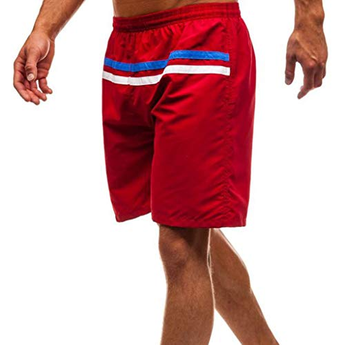 Shorts Travail Hommes Stripe Casual Short Splice Plage Uribaky Rouge Pantalon Bq8RZOwqA