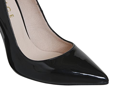 Office On to Point Court Heels Black Patent Zy04g