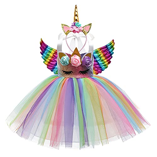 Sequin Unicorn Dress for Girls Princess Unicorn Costume Toddler Birthday Party Rainbow Tutu Dress Up Clothes with Headband