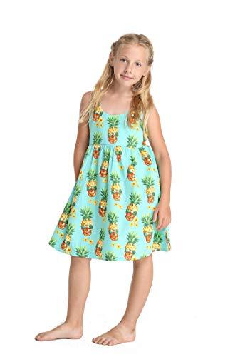 (Hawaii Hangover Girl Luau Elastic Strap Dress in Halloween Pineapple Skull Turquoise)