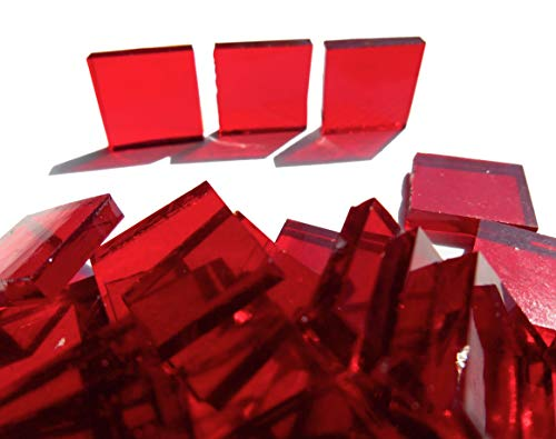 (FortySevenGems 100 Pieces Stained Glass Mosaic Tiles 1/2-Inch Red Cathedral Glass)