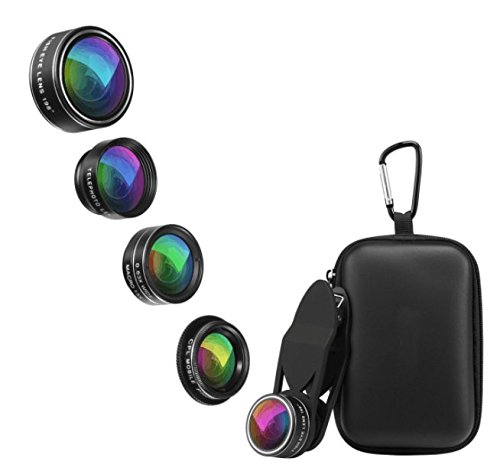 Phone lens kit 5 in 1 clip for smart phones and tablets wide angle lens and macro lens attached together, fisheye lens, telephoto lens, circular polarizer lens universal carrying case - Sunglasses Pictures Art Clip