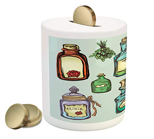 Ambesonne Apothecary Piggy Bank, Retro Alchemy Magic Craft Elixir Herbal Cure Chemists Halloween Recreation Theme, Printed Ceramic Coin Bank Money Box for Cash Saving, Multicolor ()
