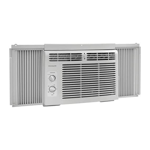 Frigidaire FFRA0511R1E 5, 000 BTU 115V Window-Mounted Mini-Compact Air Conditioner with Mechanical Controls 8 5,000 BTU mini-compact air conditioner for window-mounted installation uses standard 115V electrical outlet (Window mounting kit included) Quickly cools a room up to 150 sq. ft. with dehumidification up to 1.1 pints per hour Mechanical rotary controls, 2 cool speeds, 2 fan speeds, and 2-way air direction.Accommodates windows with a minimum height of 13 inches and width of 23 inches to 36 inches
