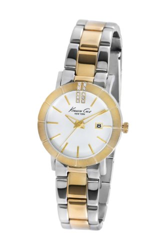 Kenneth Cole New York Women's KC4879 Classic Two Tone Etched Bezel Bracelet Watch