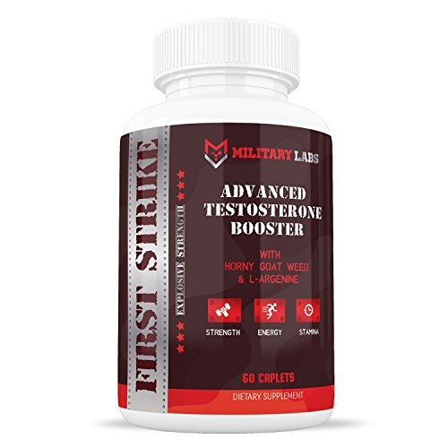 Military Labs First Strike Testosterone Booster (60ct) for Men   Gain More Energy and Vitality, Male Enhancement Pills that Build lean Muscle Fast, Boost Libido and Increase Strength