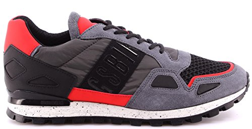 Scarpe Uomo Sneakers BIKKEMBERGS BKE108531 Fend ER739 Nylon Nabuk Antracithe Red