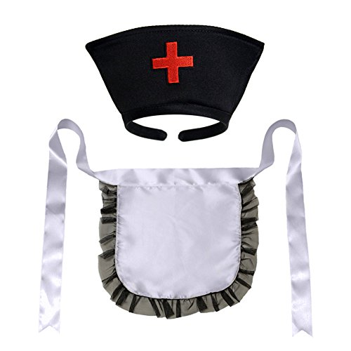 [Nurse Hat Headband & Apron Costume Set (STC12185) ~ Halloween Accessory] (Nurse Costumes For Teens)