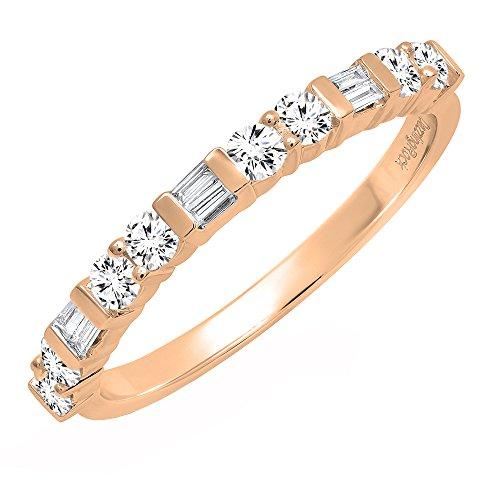 Dazzlingrock Collection 0.40 Carat (ctw) 14K Round & Baguette Diamond Ladies Wedding Band, Rose Gold, Size 5