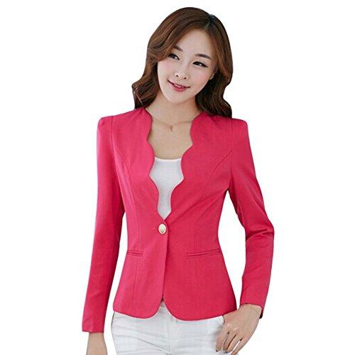 Fedi Apparel Women's Long Sleeve One button Blazer OL jacket Coats Slim (One Button Swing Jacket)