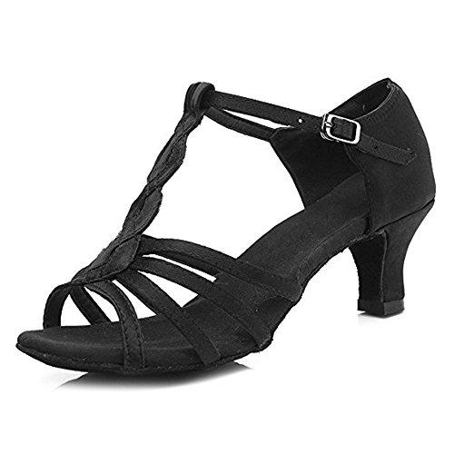 Salsa Ballsaal Frauen Soft Schnalle Satin Sohlen Heels High Dance 5cmBlack Latin Schuhe qw47f