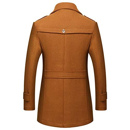Jacket Lapel Tops Scarf Mens Male Business Coat Slim Long Yra Windbreaker Yellow Fleece Medium For Woolen Outerwear With Fit Gentleman 6Azqx6YF