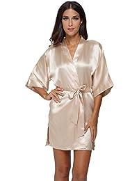 Women's Pure Colour Short Satin Kimono Robes with Oblique...