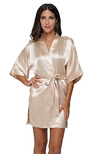 - The Bund womens Pure Colour Short Kimono Robes with Oblique V-Neck apricot Medium