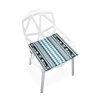 Bardic HNTGHX Outdoor/Indoor Chair Cushion Tribal Geometric Stripe Square Memory Foam Seat Pads Cushion for Patio Dining, 16