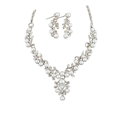 Clearance Deal! Hot Sale! Necklace, Fitfulvan 2018Lady Wedding Pearl Rhinestone Short Necklace Earrings Jewelry Set Mother's Day Pendant Necklace Gifts Jewelry (silver) - Mother Of Pearl Circular Earring