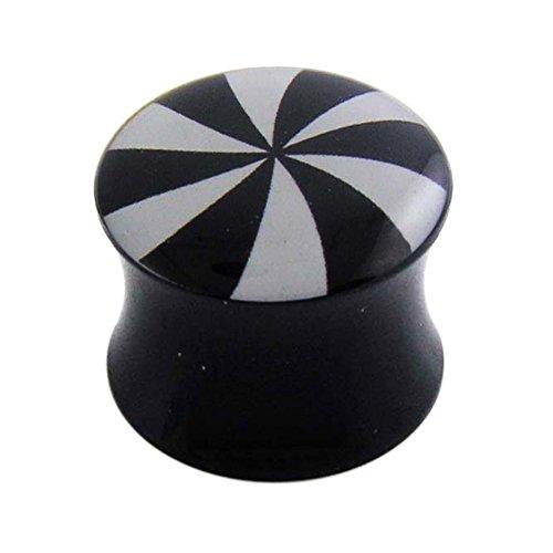 18MM Swirlling Logo Black UV Double Flared Ear Plug Body jewelry
