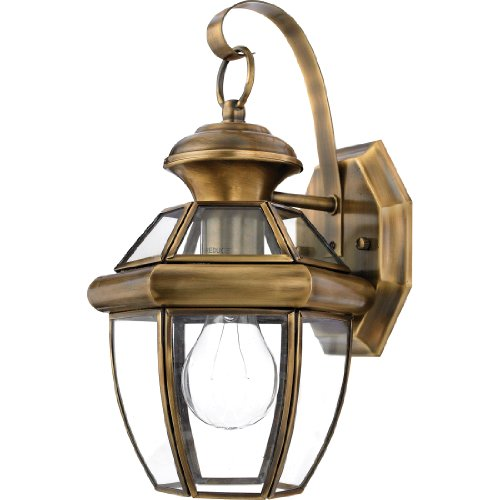 Quoizel NY8315A 1-Light Newbury Outdoor Lantern in Antique Brass - Prairie Hanging Finish