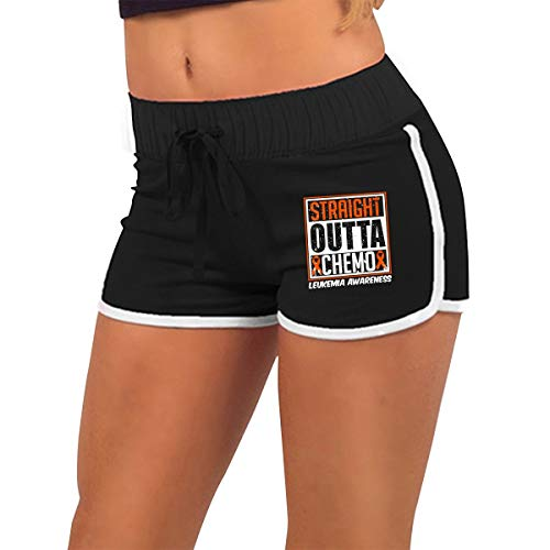 Q22-PI Womens Straight Outta Chemo Leukemia Awareness Yoga Running Workout Shorts Pants with Athletic Elastic Waist -