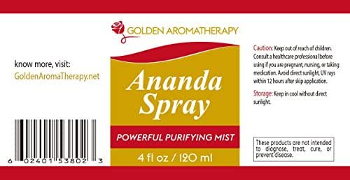 Ananda Spray - Aromatherapy spray Moisturizing, Cleansing, Healing your Skin Naturally. Energy Booster. Used by Therapists & Healers, blend of Therapeutic Essential Oils, 4 oz