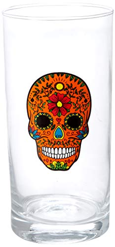 Circleware Halloween Sugar Skull Hiball Cooler Set of 4 Heavy Drinking Glass Tumbler Cups for Water, Juice, Milk, Beer…
