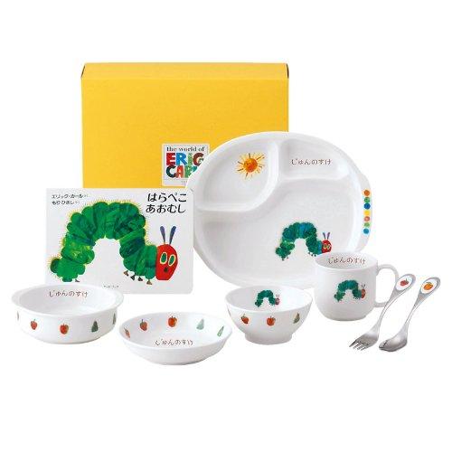 【名入れ】お食い初め 離乳食 ベビー食器 陶器 食器セット 【はらぺこあおむし ぱくぱく】   B009T2RA58