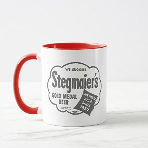 Zazzle Kitsch Vintage Stegmaier's Beer Logo Mug Red Combo Mug, 11 ()