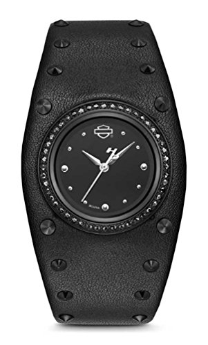 Harley-Davidson Women's Studded Leather Cuff Stainless Steel Watch, Black 78L128 (Cuff Studded Watch)
