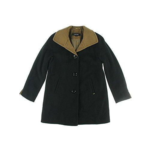 Ellen Tracy Women's Wool Jacket Colorblock Walker Coat Black Camel (Ellen Tracy Black Wool)