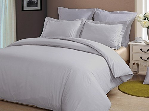 """Precious Star Linen Hotel Quality 800 Thread Count Egyptian Cotton 3pc Duvet Cover Set Zipper Closer Oversized Super King Size (120"""" x 98"""") with Corner Ties (Silver Grey Solid) from Precious Star Linen"""