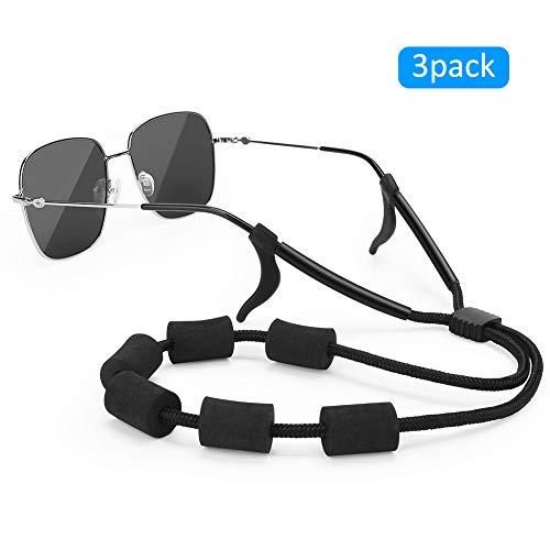 Floating Sunglasses Straps, Merssyria Adjustable Float Foam Eyewear Retainer Water Sport Glasses Eyeglass Holder Straps with Anti-slip Hooks (3 ()