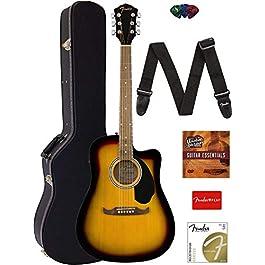 Fender FA-125CE Dreadnought Cutaway Acoustic-Electric Guitar – Sunburst Bundle with Hard Case, Strap, Strings, Picks…