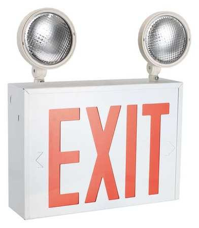 Exit Sign, Steel, Incandescent, 9W, Red